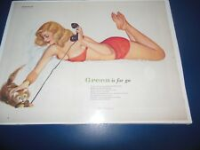 "1950s  ESQUIRE AL MOORE CENTERFOLD SEXY PIN-UP ""GREEN IS FOR GO"" ON POSTERBOARD"