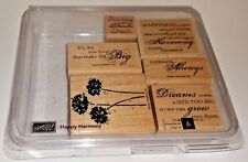 EUC! STAMPIN' UP HAPPY HARMONY RETIRED SET OF 6 STAMPS ~ PHRASES & FLOWERS