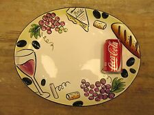 1x Handpainted Clay Art Buon Vino Serving Party OVAL PLATTER Grapes Brie Bread