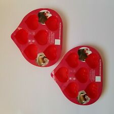 """2 Silicone Heart Molds Non-Stick Bakeware 2 1/2"""" X  2 2/16"""" inch Dishwasher Safe"""
