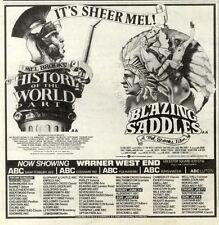 "19/6/82PGN14 MEL BROOKS MOVIES ADVERT 7X7"" BLAZING SADDLES/HISTORY OF THE WORLD"