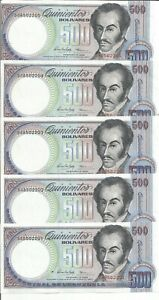VENEZUELA LOT 5x 500 BOLIVARES 1998  P 67. UNC CONDITION. 7RW 19FEB