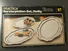 Servierplatten-Set, 3-teilig aus rostfreiem Edelstahl in OVP