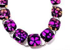 """Handmade Cherry Blossom Dichroic Glass Bracelet 8"""" Length Gift Boxed!"""
