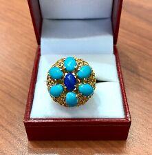 14k Gold Filigree Rope Turquoise And Lapus Lazuli Ring