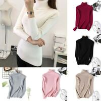 Winter Sleeve Knitted Slim Top Pullover Womens Warm Fit Long Turtleneck Sweater
