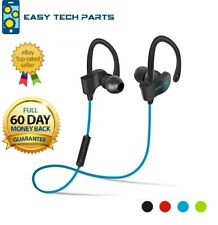 Blue Bluetooth Earphone Headset Headphones Wireless Sweatproof Sport Gym Mic UK