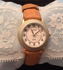 Vintage Gruen Ladies Quartz Watch With Brown Pig Skin Leather Band WORKS