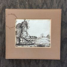 18th Century Attributed Pen and Ink Old Master Lavabo Drawing on Paper