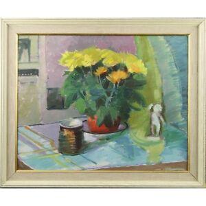 Signed Framed Original Mid Century Chrysanthemum Flower Still Life Oil Painting