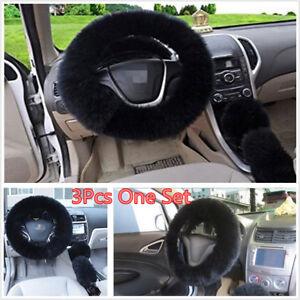 3 Pcs Car Furry Black Steering Wheel Cover Woolen Fur Gear Knob Shifter Brake