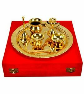 Handmade Pooja/Aarta Thali with Box Of Royal Gold Plated Brass - Set of 7 Pcs