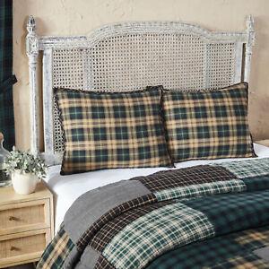 VHC 2 Pine Grove Plaid Cotton Country Farmhouse Bedding Pillow Shams
