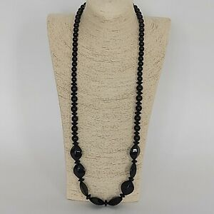 Statement Long Black Beaded Flapper Necklace Costume Jewellery