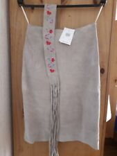 New Look Stone Knee length Suede Lined Skirt with belt. Size 8
