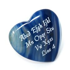 Custom Engraved BLUE Agate Heart - LOVE STONES - 40mm or 1.5 in Personalized