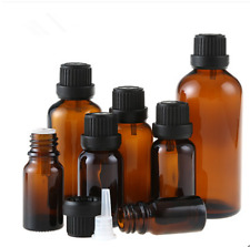 5/10/30/100ML Amber Glass Essential Oil Bottle Euro Dropper Orifice Reducer OZ