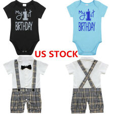 US Toddler Baby Boys Clothes Outfit Party Gentleman Bowtie Birthday Jumpsuit Set
