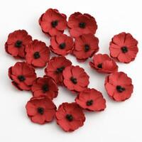 Paper Poppy Flowers Embellishments with Black Stamens Packet of 16 Hand Crafted