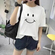 Summer Korean Fashion Women Cute Smile Printing Loose T-Shirt Short Blouse Tops