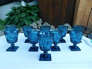 Set of 10 Vintage Large Kings Crown Tiara Thumbprint Blue Goblets