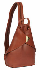 Womens Brown Leather Backpack Large Rucksack Walking Hiking Gym Daypack Work Bag