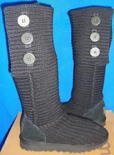 UGG Australia Black Classic Cardy Knit Tall Boots Size US 6, EU 37 NEW # 5819