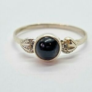 Brand New Sterling Silver 925 Onyx (Round) Ring, Size F 1/2