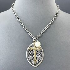 Unique Antique Silver Chain Hammered Gold Cross Pearl Pendant Necklace