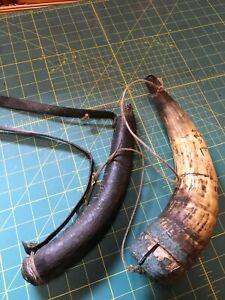 antique  newfoundland powder horn and shotbag