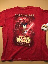 2015 Disney Star Wars Weekends Passholder Jedi Mickey Red T-Shirt SIZE Adult XL