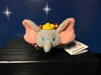 "Disney Store Tsum Tsum DUMBO Gray Elephant With Red Collar Mini Plush 3½"" NWT"
