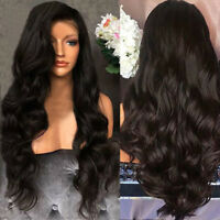 Women Black Curly Wavy Brazilian Remy Hair Body Wave Lace Front Human Hair Wig !