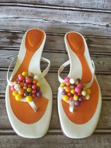 RAMON TENZA Beaded Sandals Orange Cute Size 9