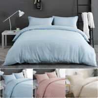 3PCS Quilt Duvet Cover Set W/ Pillowcase Pillow Case Light Blue Pink Beige Queen