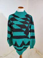True Vintage Chance Encounters Retro 1980s Geometric Multicolor Sweater Size 40
