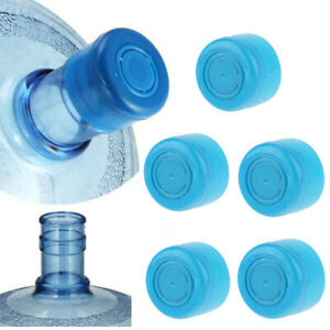 5Pc Reusable Water Bottle Snap On Cap NonSpill for 3-5 Gallon 55mm Water Jug