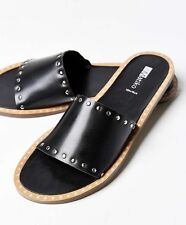NEW  Matiko black Leather Silver Studded Flat Slide Sandals 36