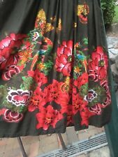 12 DESIGUAL Floral Turquoise Red Pink Khaki Olive Green Waist Tie Dress