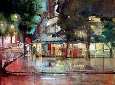 """""""Café De Paris"""" by ALEX ZWARENSTEIN! Hand Signed Original Oil Painting! RARE!"""