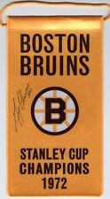 Gerry Cheevers Boston Bruins Autographed 1972 Stanley Cup Champions mini banner