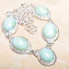 "Handmade Chrysoprase Jasper Gemstone 925 Sterling Silver Necklace 19.5"" #N01156"