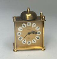 Vtg Bucherer Swiss 8 Day Alarm Clock 7 Jewel Mechanical Movement Brass