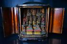 Japanese Antique Many Mini Buddha Statues in Miniature Shrine Mid Edo Period