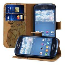 kwmobile Schutz Hülle für Samsung Galaxy S3 Mini Landkarte Tasche Kunstleder EC