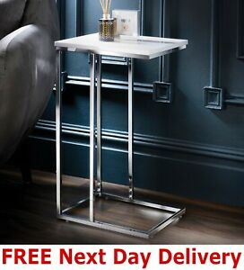 White High Gloss Sofa Side Table C Shaped Coffee End Table Living Room/ Bedroom