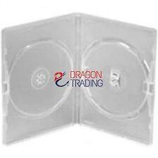 100 X CD/DVD/BLU RAY 14mm Custodia Trasparente DVD Doppia per 2 Disc-Branded trascinare.