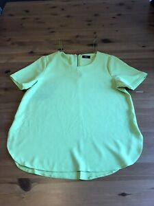 F&F Size 12 Yellow Green Tunic T Shirt Top Short Sleeves Stretch