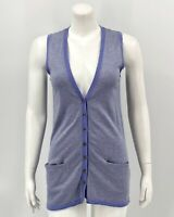 J Jill Womens Tunic Sleeveless Sweater Vest XS Purple Striped V-Neck Cotton