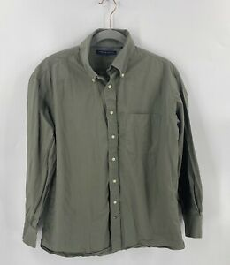 Tommy Hilfiger Button Up Shirt Size Large 16 32-33 Olive Green Collared Solid